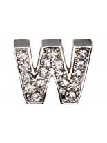 "Camon - Декоративна буква  ""W"" - с брилянти за поводи и нашийници - 2 см. - бяло, розово, синьо"