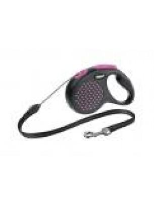 Flexi Design Dots XS - автоматичен повод на точки в атрактивни цветове с 3 метра въже за кучета до 8 кг. - розов