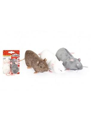 CAMON - играчка плъх за котка  - 20 см - сив,бял, кафяв