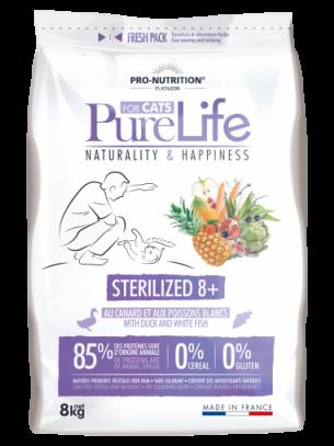 Pure Life Cat STERILIZED 8+ with Duck & white fish - Пълноценна храна за кастрирании котки над 8 година с патешко и бяла риба - 8 кг.