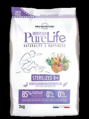 Pure Life Cat STERILIZED 8+ with Duck & white fish - Пълноценна храна за кастрирании котки над 8 година с патешко и бяла риба - 2 кг.
