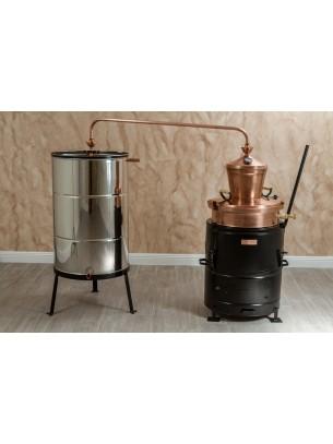 """Казан за ракия """"Рила"""" с бъркалка и печка на дърва - за домашно производство на ракия  - резервоар - 60 л."""