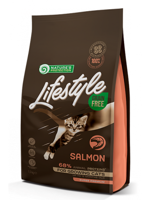 Nature's Protection LifeStyle Cat - Grain Free - Kitten Salmon - Супер премиум, високо качествена храна без зърно за котки до 12 месеца  със сьомга - 1.5 кг.