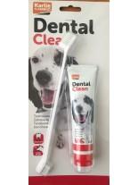 Flamingo Dental Clear - Паста за зъби + четка на блистер за куче - 85 гр.