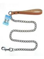 Миазоо - Повод синджир с ковена ръкохватка - дължина 100 см. / 2.0 мм. - натурал, черен или червен