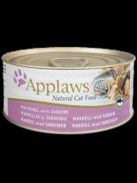 Applaws Mackerel with Sardine in Broth - високо качествен консерва за котки над 12 месеца с филе от сардини и скариди в бульон - 70 гр.