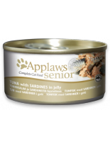 Applaws Senior Tin – Tuna with Sardine in Jelly - високо качествен консерва за котки над 10 години с хапки от риба тон и сардини в желе - 70 гр.