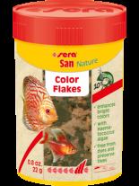 Sera San Nature Color flakes- основна храна за подсилване на оцветяването при всички декоративни рибки с астаксантин и крил - пакетче 12 гр.