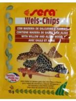 Sera Wels-Chips - специална храна за придънни рибки с върба и елша - 15 гр.