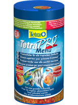 Tetra Pro Menu  - четири вида (Pro Color, Pro Algea, Crowth и Multi Crisps) пълноценна храна за аквариумните рибки - 250 ml.