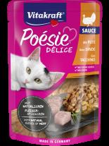 Vitakraft POESIE Pouch - Пауч за котки над 1 година - вкусен сос с истински парченца пуешко месо - 85 гр.