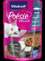 Vitakraft POESIE Pouch - Пауч за котки над 1 година - вкусен сос с истински парченца от риба треска - 85 гр.