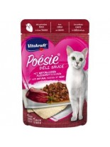 Vitakraft POESIE Pouch - Пауч за котки над 1 година - вкусен сос с истински парченца от сърца - 85 гр.
