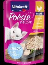 Vitakraft POESIE Pouch JUNIOR - Пауч за подрастващи котенца от 1 до 12 месеца - вкусен сос с истински парченца пилешко филе - 85 гр.