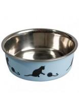 Karlie - Bella INOX - Метална купа за коте с гумена основа против пързаляне - синя или розова  - 0.16 л., ф 10 см.