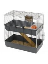 Ferplast -CAGE RABBIT 100 DOUBLE BLACK - оборудвана двуетажна клетка за зайци  и други гризачи  с размери - 99х51,5х97,5 см