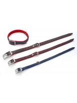 Миазоо Кожено- текстилен нашийник сърца - 2.5/60 см. -  черно/червено или черно/синьо