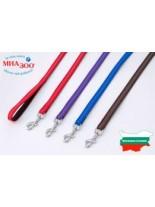 Миазоо - Повод изкуствена лента Ексклузив - 15 мм. - 120 см. - (черно/синьо, черно/червено, черно/лилаво или черно/кафяво)