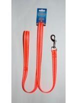 Миазоо - Повод - оранжева лента със светлоотразителни нишки -  25 мм. - 120 см.