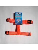 Миазоо - Нагръдник - оранжева лента със светлоотразителни нишки -  15 мм. - 30-50 см.