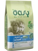 Oasy Puppy & Junior Large - високо качествена суха храна, подходяща за подрастващи кучета от едрите породи до 1 година с пилешко месо - 12 кг.