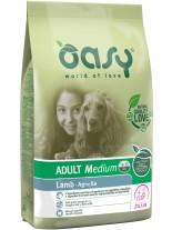 Oasy Adult Medium Lamb - високо качествена суха храна, подходяща за кучета от средните породи над 1 година с над 20% агнешко месо - 12 кг.