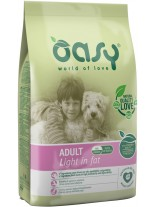 Oasy Adult Light - високо качествена суха храна за контрол на теглото, подходяща за кучета от всички породи над 1 година с над 20% пилешко месо - 12 кг.
