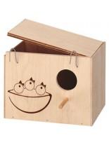 Ferplast - NIDO NEST MEDIUM - дървена къща средна за птици - 19,5 x 14 x h 14 см.