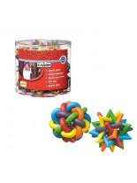 """Camon - Ръбер топка от разноцветни гумени ленти оплетени в """"змииско"""" кълбо. При игра почистват зъбите и масажират венците - 4.5 см."""