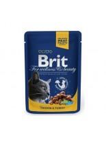 Brit Premium Cat Pauch Chicken & Turkey - Високо качествен пауч за котки с пиле и пуйка - 100 гр.