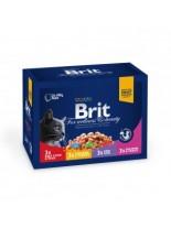 Brit Premium Cat Pauch Plate Family- Високо качествен пауч за котки - Рибноплато: 3хпиле и пуйка, и 3хговеждо и грах,3хсьомга и пъстърва, и 3хриба треска - 12x100 гр.