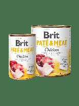 Brit Pate & Meat - Chicken  - високо качествена консерва за кучета над 1 година с пилешко месо, хапки в пастет - 0.400 кг.