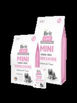 Brit Care Mini Grain Free Yorkshire - Хипоалергенна храна БЕЗ зърнени култури за кучета от порода Йоркшир или други с дълга козина над 10 месеца със сьомга и риба тон - 7 кг.