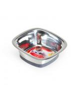 Camon -  Купа - квадрат за домашни любимци от високо качествена стомана, покрита с нехлъзгаща се гума - 0.420 л. , 16х16 см. - инокс