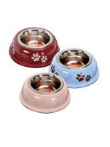 Camon -  Купа за домашни любимци от високо качествена стомана, покрита с нехлъзгаща се гума - 0.450 л. - червена, розова, синя