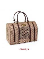 Camon - Текстилна, луксозна, полутвърда чанта BULETTO за домашни любимци - 40х23х27 см. - кафява