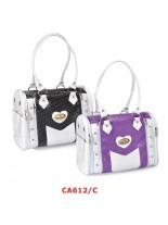 Camon - Текстилна чанта CROCO за домашни любимци -  38х25х28 см. -лилажа, черна