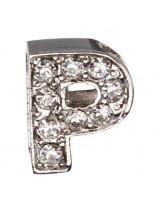 "Camon - Декоративна буква  ""P"" - с брилянти за поводи и нашийници - 2 см. - бяло, розово, синьо"