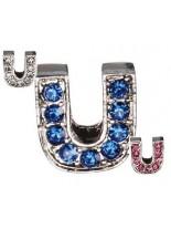 """Camon - Декоративна буква  """"U"""" - с брилянти за поводи и нашийници - 2 см. - бяло, розово, синьо"""