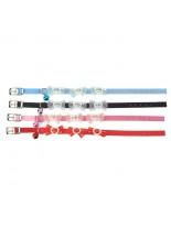 Camon - VELVET - Кожен нашийник за коте декориран - различни цветове - 10х300 mm.