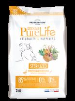 Pure Life Cat STERILIZED Duck & Sardine - Пълноценна храна за кастрирании котки над 1 година с патешко и сардини - 2 кг.