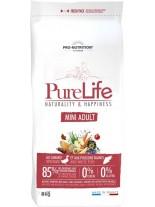 Flatazor Pro-Nutrition PureLife Mini Adult Grain free - Пълноценна, високо протеинна (85%), основна храна за кучета  над 1 години, от Mini породите, без зърнени съставки с патица, пиле, пуйка и свинско месо - 8 кг.