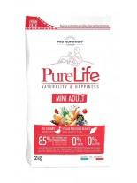 Flatazor Pro-Nutrition PureLife Mini Adult Grain free - Пълноценна, високо протеинна (85%), основна храна за подрастващи кучета  над 1 години, от Mini породите, без зърнени съставки с патица, пиле, пуйка и свинско месо - 2 кг.