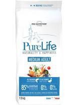 Flatazor Pro-Nutrition PureLife Medium Adult Grain free - Пълноценна, високо протеинна (85%), основна храна за кучета  над 1 години, от средните породи, без зърнени съставки с патица, пиле, пуйка и свинско месо - 12 кг.