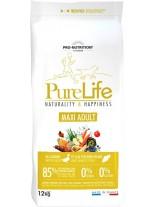 Flatazor Pro-Nutrition PureLife Maxi Adult Grain free - Пълноценна, високо протеинна (85%), основна храна за кучета  над 1 години, от едрите породи, без зърнени съставки с патица, пиле, пуйка и свинско месо - 12 кг.