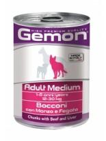 Monge Gemon Chunks with Beef and Liver – Adult Medium - консерва за кучета над 1 година с телешко и черен дроб - 0.415 кг.