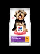 Hills - Science Plan Small&Mini Sensitive Stomach&Skin Adult Chicken - Пълноценна суха храна за дребни и миниатюрни породи кучета до 10 кг., в зряла възраст над 1 година с чувствителен стомах и кожа с пилешко месо - 1.5 кг.