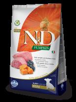 N&D GF - PUMPKIN LAMB & BLUEBERRY  PUPPY MINI - Пълноценна храна за подрастващи кученца и бременни или кърмещи кучета от дребни породи с агнешко, тиква и боровинки - 0.8 кг