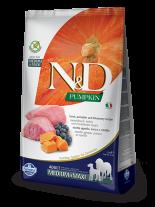 N&D GF - PUMPKIN LAMB&BLUEBERRY ADULTMEDIUM&MAXI - Пълноценна храна за кучета от средни и едри породи в зряла възраст с агнешко, тиква и боровинки - 12 кг.