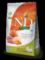N&D GF - PUMPKIN BOAR&APPLE., ADULT MINI - Пълноценна храна за кучета от дребни породи в зряла възраст с глиганско, тиква и ябълка - 7 кг.